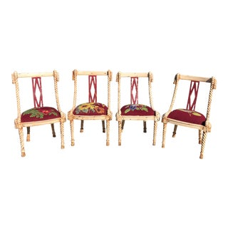 Carved Rope and Tassel Dining Chairs - Set of 4 For Sale