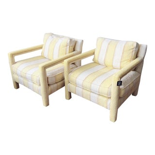 Vintage Club Chairs in the Manner of Milo Baughman- a Pair For Sale