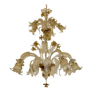 Venetian Handblown 2-Tier Chandelier For Sale