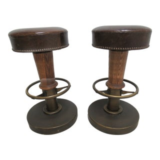 Restoration Hardware Leather & Oak Bar Stools - A Pair For Sale