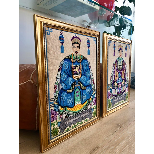 Vintage Chinoiserie Chinese Ancestor Portraits Framed Needlepoints - a Pair For Sale - Image 4 of 8