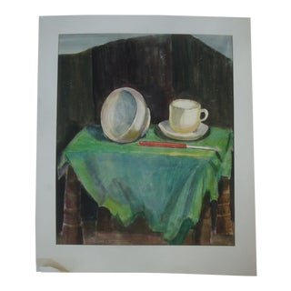 Mid-Century Modern Still Life Watercolor Painting For Sale