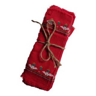 Guatemalan Hand-Loomed Cocktail Napkins - Set of 12, Red For Sale