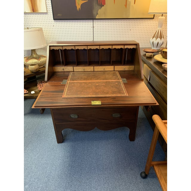 19th Century Chippendale English Hepplewhite Style Drop Top Desk For Sale - Image 4 of 12