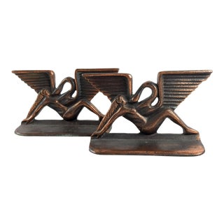 Art Deco Leda & the Swan Bookends For Sale