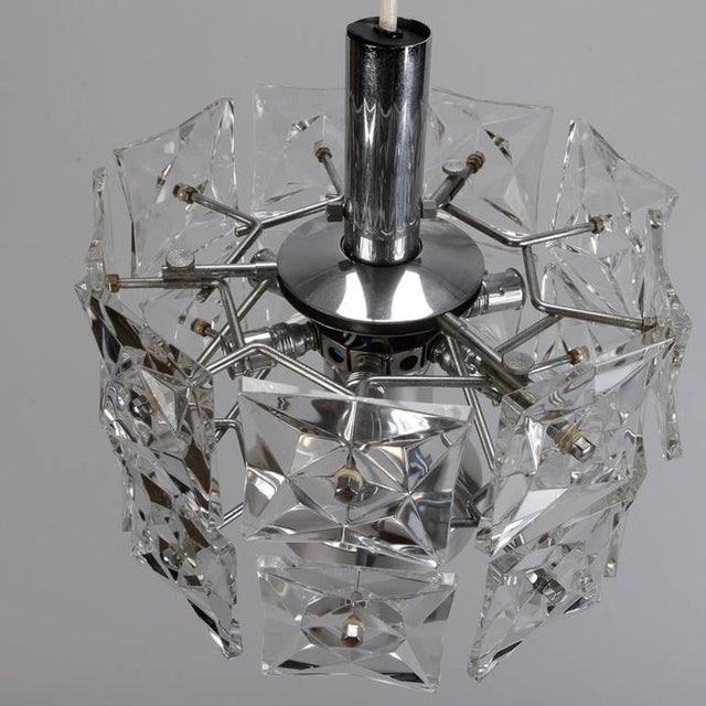 Mid-Century Modern Kinkeldey Crystal Fixture with Chrome and Nickel Base For Sale - Image 3 of 6
