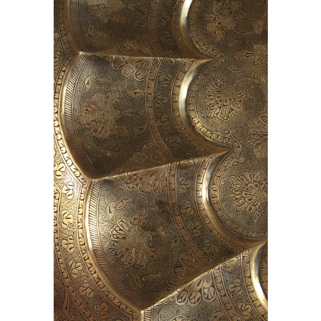 Gold Early 20th Century Monumental Anglo-Indian Brass Hanging Tray Platter For Sale - Image 8 of 13