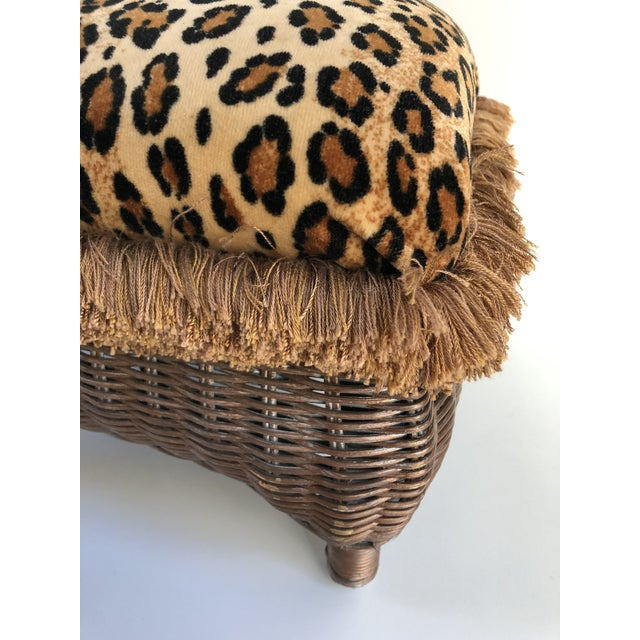 Boho Chic Vintage Boho Chic Hollywood Glam Fringed Wicker Leopard Stool For Sale - Image 3 of 8