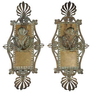 Bronze Neoclassical Beaux-Arts Wall Sconces, Circa 1910 For Sale