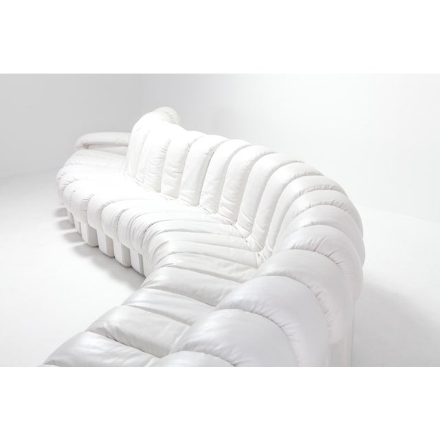Animal Skin Non Stop Sectional Sofa Ds-600 by De Sede Switzerland in White Leather For Sale - Image 7 of 11