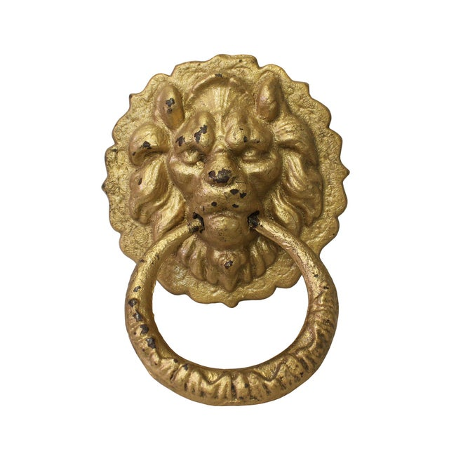Gold Chinese Metal Distressed Matte Gold Color Lion Head Shape Pull Handle Display For Sale - Image 8 of 8