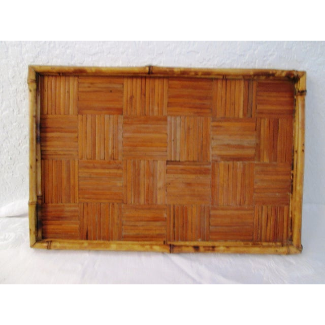 Asian Vintage Tortoise Bamboo & Rattan Tray For Sale - Image 3 of 7