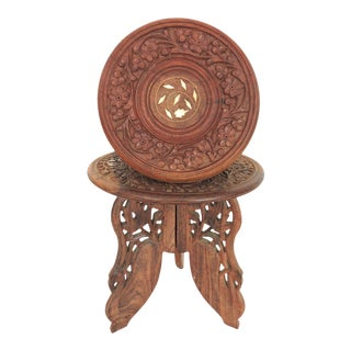 Inlaid Indian Display Stands or Plant Pedestals, A Pair