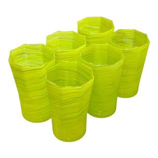 Handmade Citrus Green Ice Tea Glasses - Set of 6 For Sale