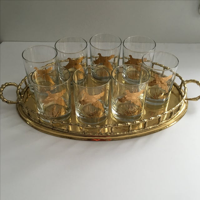 Ring Necked Pheasant Vintage Cocktail Glasses - 8 - Image 4 of 7