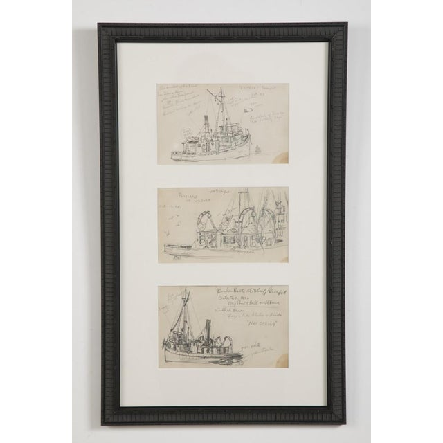 "Reynolds Beal ""Sail Boats and Fishing Boats"" Pencil Sketches - a Pair For Sale In New York - Image 6 of 13"