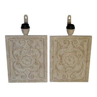 Antique French Carved Wood Panel Sconces-Pair For Sale