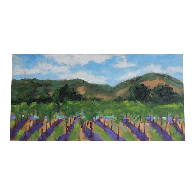 Original Oil Painting Landscape Plein Air, Sonoma Vines For Sale
