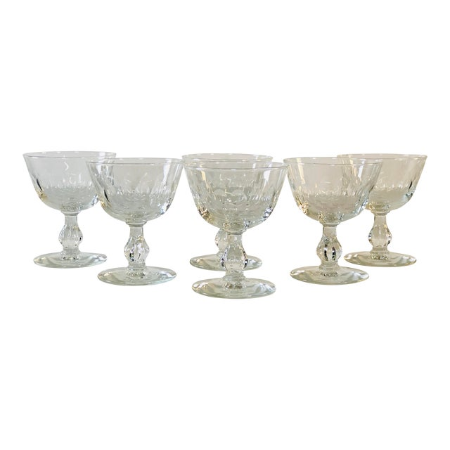 1950s Mitred Glass Coupe Stems, Set of 6 For Sale