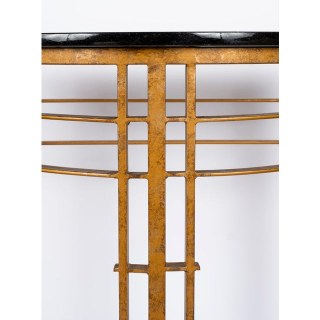 20th Century Art Deco Gilt Iron and Granite Demi Lune Consoles - a Pair For Sale - Image 9 of 10