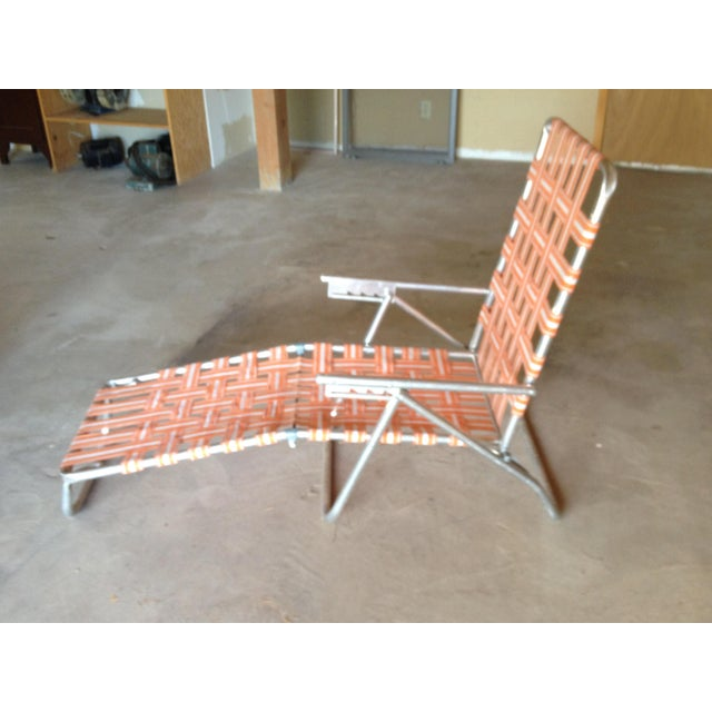 Mid-Century Aluminum Webbed Outdoor Chaise Lounge For Sale In Santa Fe - Image 6 of 8