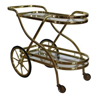 Mid-Century Modern Brass Bar Cart For Sale