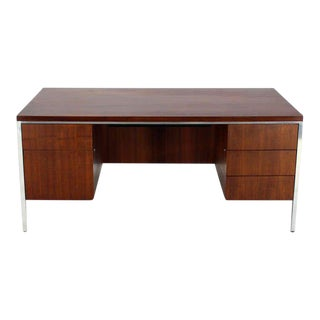 Mid-Century Modern Walnut and Aluminum Executive Desk For Sale