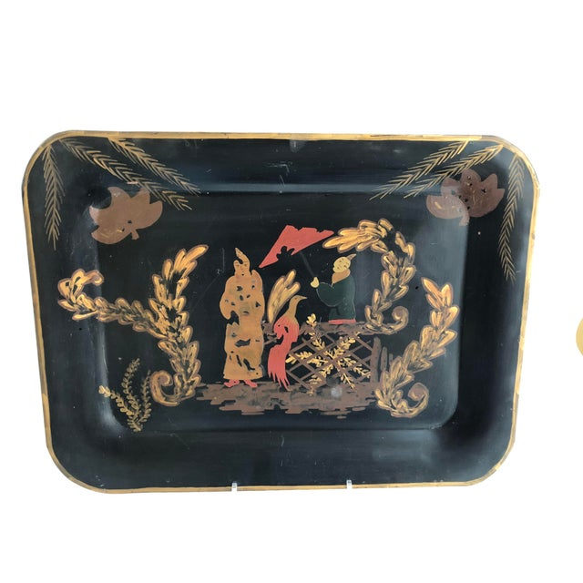 Vintage Hand-Painted Chinoiserie Tole Tray For Sale - Image 4 of 5