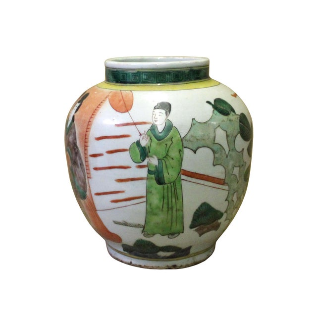 Chinese Oriental People Scenery Graphic Ceramic Vase For Sale - Image 4 of 8