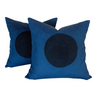 Indigo Linen Hand Printed Minimalist Pillows - A Pair For Sale