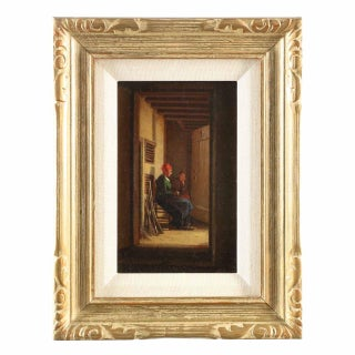 Painting of Dutch Interior with Two Figures in Hallway, Circa 1864 For Sale