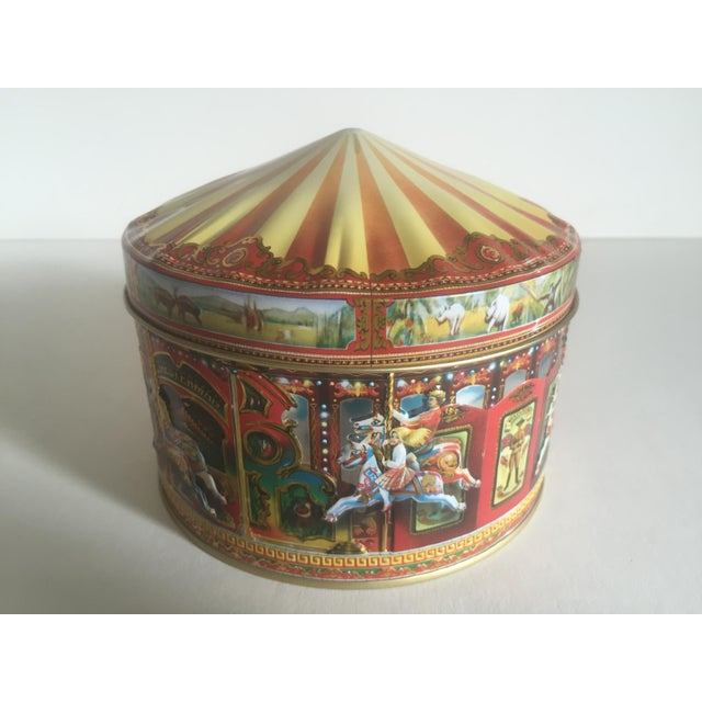 Metal Vintage Churchill's Of London Carousel Candy Tin Box For Sale - Image 7 of 10