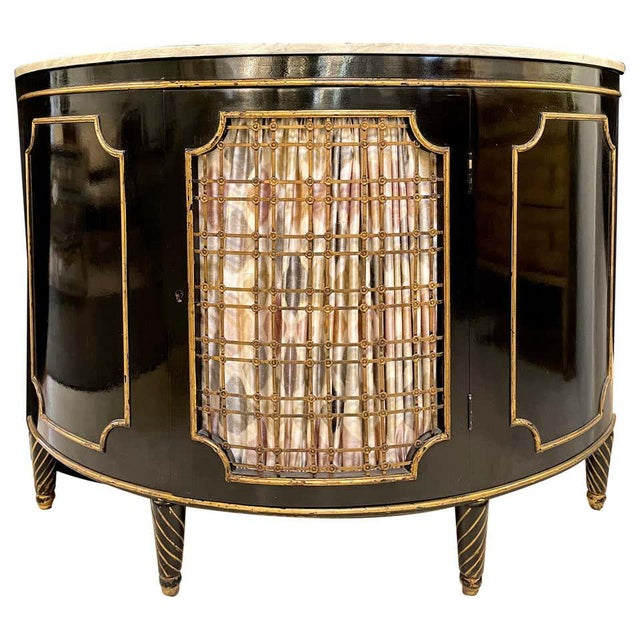 Ebony Demilune Commode or Server Hollywood Regency For Sale - Image 13 of 13