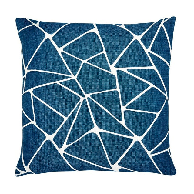 "Modern Modern Navy Blue and White Linen Pillow - 22x22"" For Sale - Image 3 of 4"