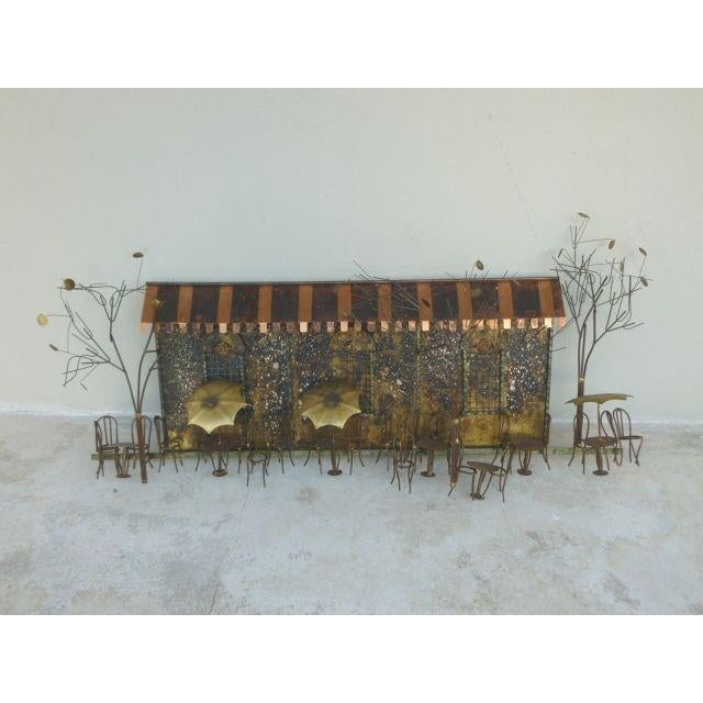 Large 1970's Curtis Jere Brass and Copper Cafe Wall Sculpture For Sale In Miami - Image 6 of 6