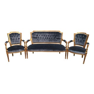 French Louis XVI Sofa & Chairs - Set of 3 For Sale