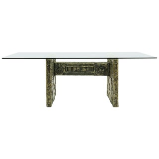 Glass Top Dining Table by Adrian Pearsall, Abstract, Resin, Faux Bronze Detail For Sale