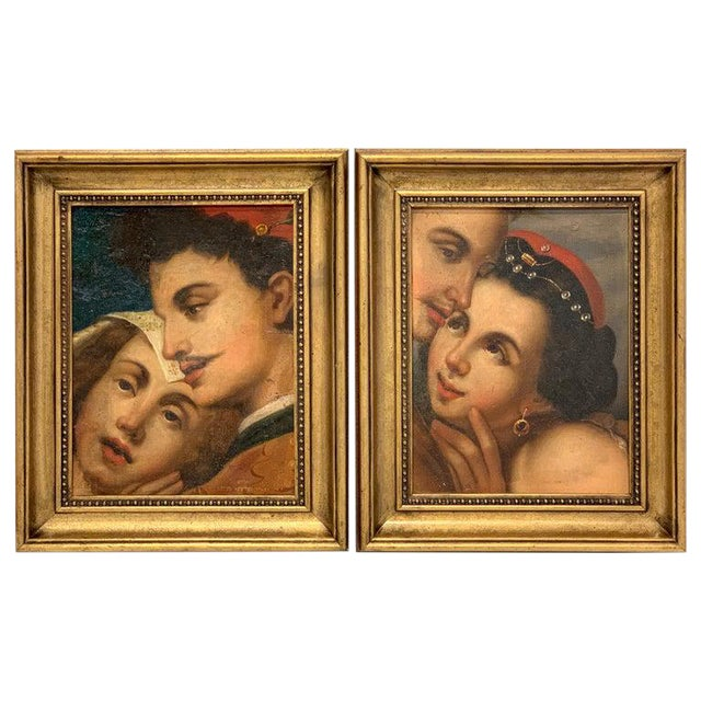 Near Pair of Old Master Romantic Portraits For Sale