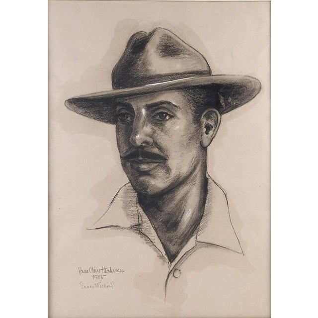 Country Charcoal Portrait by Anna Claire Henderson, 1955 For Sale - Image 3 of 4