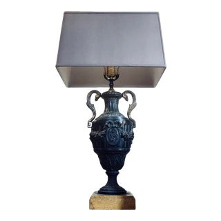 Antique Bronze Neoclassical Urn Table Lamp on Marble Base For Sale