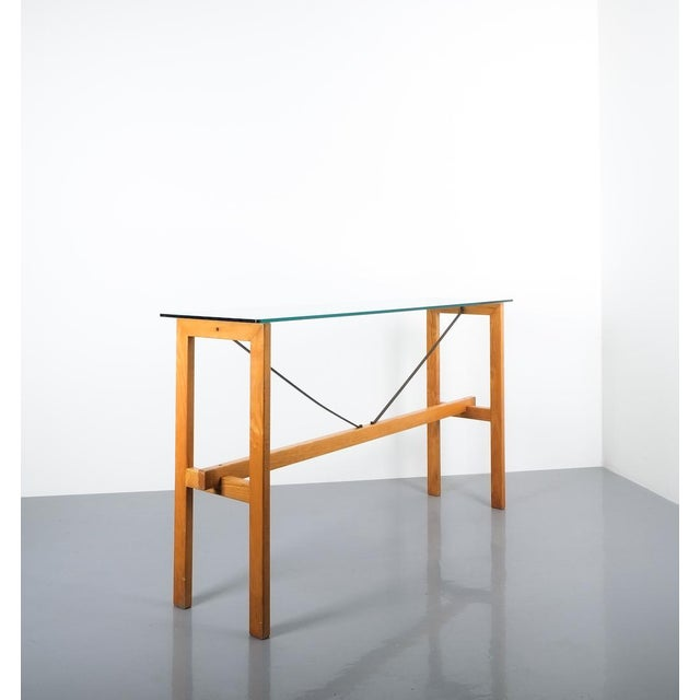 1980s Superstudio Console Table Wood and Glass Zanotta, Italy, Circa 1980 For Sale - Image 5 of 9