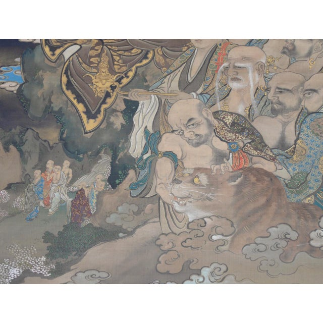 Antique Japanese Hanging Scroll With Buddha and His Disciples C.1910 For Sale - Image 10 of 12