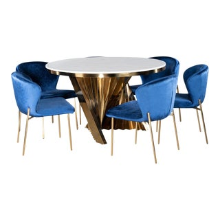 Waterfall Dining Set With Marble Top Table & Blue & Gold Chairs - Set of 7 For Sale