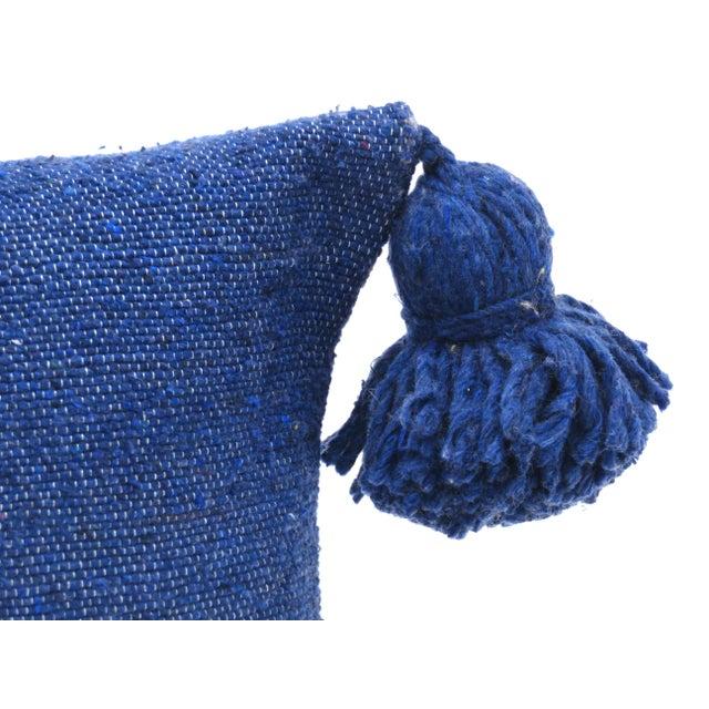 Boho Chic Boho Chic Indigo Cotton Pillow For Sale - Image 3 of 7