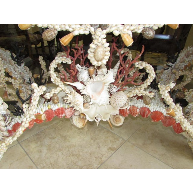 French Louis XV Seashell Encrusted Console Table For Sale In West Palm - Image 6 of 12