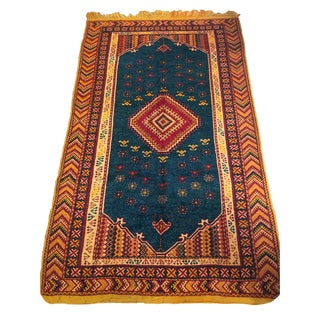 Moroccan Large Orange and Navy Rug For Sale