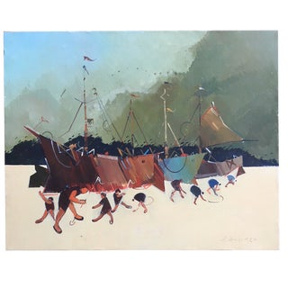 Vintage Clam Diggers & Ships Painting by P. Ravelo For Sale