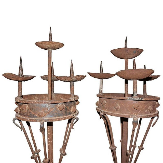 Early 19th Century Spanish Forged Iron Candleholders - a Pair For Sale - Image 4 of 7