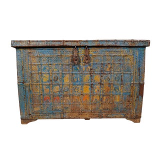 Antique Blue Metal Work Dowry Trunk For Sale
