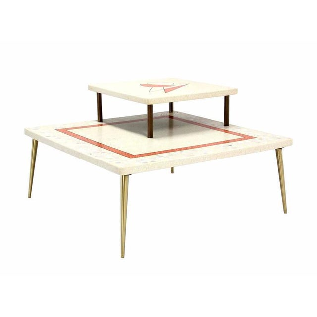 Mid-Century Modern travertine corner step table with beautiful mosaic motif. Excellent vintage condition.